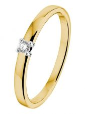 Treasure Collection L088 14 karaat gouden solitair ring met 0,05 ct diamant
