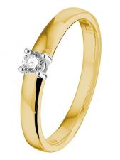 Treasure Collection L096 14 karaat gouden solitair ring met 0,10 ct diamant