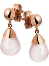 Treasure Collection TC-50493 14 karaat roségouden oorhangers met rozenkwarts 19 mm