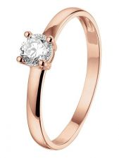 Treasure Collection TC-49552 14 karaat rose gouden ring met zirkonia 4,5 mm