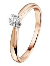 Treasure Collection TC-49378 14 karaat rose gouden ring met 0,10 ct diamant