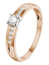 Treasure Collection TC-49607 14 karaat rose gouden ring met zirkonia 4 mm