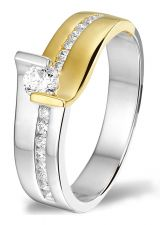 Treasure Collection TC-46049 14 karaat bi-color gouden ring met 0,33 ct diamant