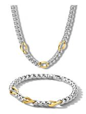 Treasure Collection 51044SET Bicolor 14 karaat met zilver sieraden set gourmet