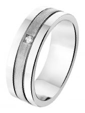 Treasure Collection A309 Zilveren Amorio vriendschapsring met 0,02 ct diamant