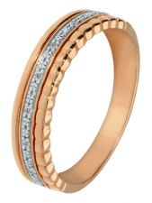 Treasure Collection TC-49232 14 karaat roségouden ring met 0,04 ct diamant
