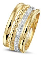 Treasure Collection TC-54768 14 karaat gouden bicolor ring met 0,17 ct diamant